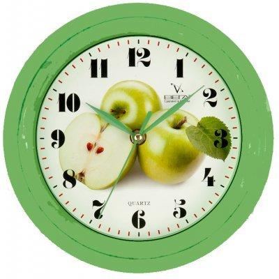 Часы настенные Вега П 6-3-6 Яблоко зеленое арабские (П 6-3-6)Часы настенные Вега <br>Тип настенные часы, часы для кухни<br>Механизм кварцевый<br>Материал корпуса пластик<br>Габариты 22.5x22.5 см<br>