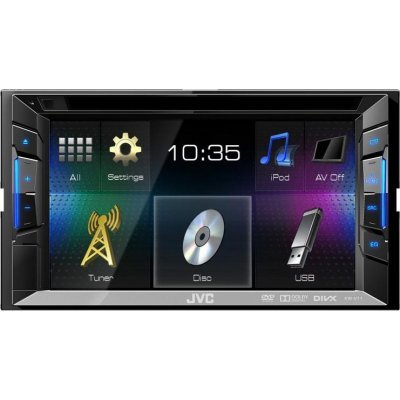 Автомагнитола JVC CD DVD KW-V11EE (KW-V11EE)Автомагнитолы JVC<br>Описание  JVC KW-V11EE - это абсолютно новая модель из линейки 2015 года, имеет высоко контрастный яркий 6.2-дюймовый, полностью сенсорный, экран. Отличием от предыдущей модели является более удобное управление iPod/iPhone, и телефонами на системе Android и Symbian. Модель обладает отличным звучание ...<br>