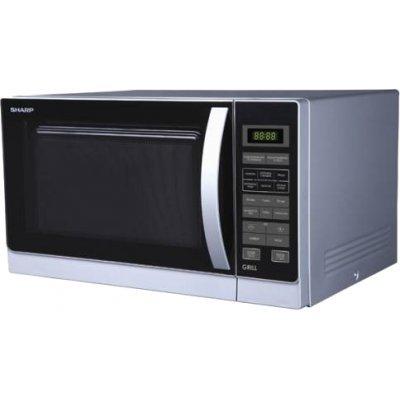 Микроволновая печь Sharp с Грилем (R7773RSL) (R7773RSL)Микроволновые печи Sharp<br>25л., 900Вт, Гриль - 1000Вт, Электронное упр., LED, 8 программ, серебристая<br>