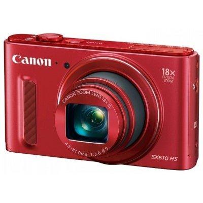 Цифровая фотокамера Canon PowerShot SX610 HS красный (0113C002)Цифровые фотокамеры Canon<br>, 20Mpx CMOS, zoom 18x, оптическая стаб., 1920x1080, экран 3.0  , Wi-fi и NFC, GPS через смартфон, Li-ion<br>