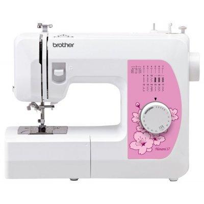 Швейная машина Brother Hanami17 белый (HANAMI17)Швейные машины Brother<br>швейная машина<br>    электромеханическое управление<br>    плавная работа без вибрации<br>    17 швейных операций<br>    полуавтоматическая обработка петли<br>    рукавная платформа<br>