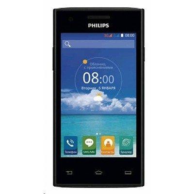 Смартфон Philips S309 черный (S309 черный)Смартфоны Philips<br>4-дюймовый дисплей с разрешением 800x480 пикселей; двухъядерный процессор MediaTek MT6572M с тактовой частотой 1 ГГц; 1 ГБ оперативной памяти; 4 ГБ внутренней памяти; аккумулятор 1600 мАч<br>