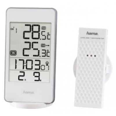 Метеостанция Hama EWS-840 белый (123123)Метеостанции Hama<br>метеостанция беспроводной датчик часы питание автономное<br>