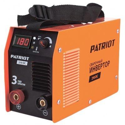 Сварочный аппарат Patriot 210DC MMA (605302516) (605302518)Сварочные аппараты Patriot<br>сварочный инвертор типы сварки: ручная дуговая (MMA) макс. сварочный ток: 180 А (MMA) мощность: 4.40 кВт толщина металла: 2-5 мм антиприлипание горячий старт<br>