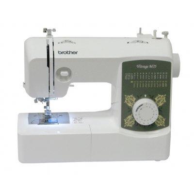 Швейная машина Brother Vitrage M75 белый (M75)Швейные машины Brother<br>Максимальное количество швейных операций: 25, Длина стежка: 4, Ширина стежка, макс.: 5, Бренд: Brother<br>