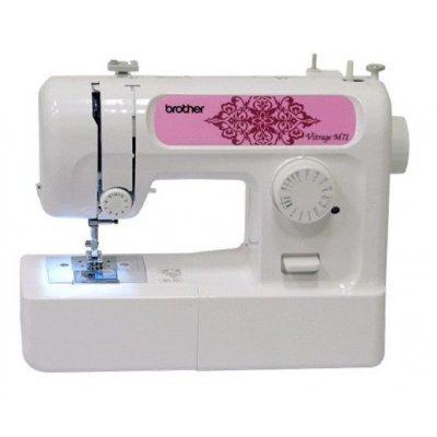 Швейная машина Brother Vitrage M71 белый (M71)Швейные машины Brother<br>электромеханическая, кол-во строчек 14, челнок: классический (вертикальный качающийся), выполнение петель: полуавтоматическое, рукавная платформа, подсветка<br>
