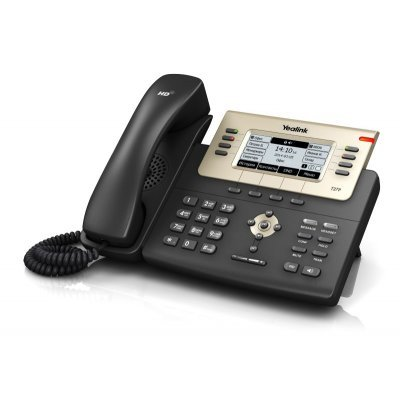 VoIP-телефон Yealink SIP-T27P (SIP-T27P)VoIP-телефоны Yealink<br>sip 6  Yealink Optima HD voice 3.66 240x120-pixel graphical LCD with backlight Up to 6 SIP accounts Paper label free design PoE support Headset<br>