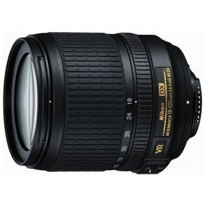 Объектив для фотоаппарата Nikon 18-105mm f/3.5-5.6G AF-S ED DX VR Nikkor (JAA805DB)Объективы для фотоаппарата Nikon<br>стандартный Zoom-объектив<br>    крепление Nikon F, встроенный мотор<br>    для неполнокадровых фотоаппаратов<br>    встроенный стабилизатор изображения<br>    автоматическая фокусировка<br>    минимальное расстояние фокусировки 0.45 м<br>    размеры (DхL): 76x89 мм<br>    вес: 420 г<br>