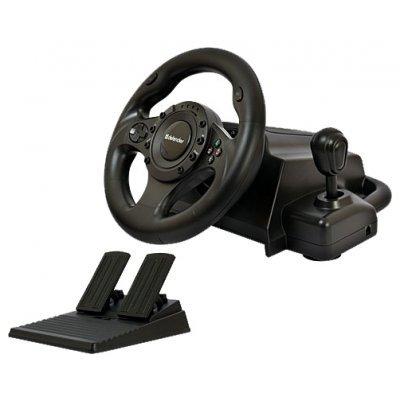 Руль проводной Defender FORSAGE DRIFT GT (FORSAGE DRIFT GT)Рули проводные Defender<br>проводной руль для ПК, PS3, PS2<br>    коробка передач<br>    педали газа и тормоза<br>    диаметр руля 24.5 см, угол поворота 270°<br>    оплетка руля из резины<br>    виброотдача<br>    крестовина, 12 кнопок<br>