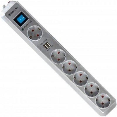Сетевой фильтр Defender DFS 501 6 роз., 2.0 м, 2 USB порта (99051) сетевой фильтр defender dfs 601 6 sockets 1 8m 99406