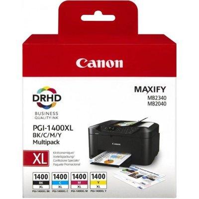 Картридж для струйных аппаратов Canon PGI-1400XL BK/C/M/Y EMB MULTI (9185B004)Картриджи для струйных аппаратов Canon<br>Картридж Canon PGI-1400XL BK/C/M/Y EMB MULTI для MAXIFY МВ2040 и МВ2340. Мультипак.<br>