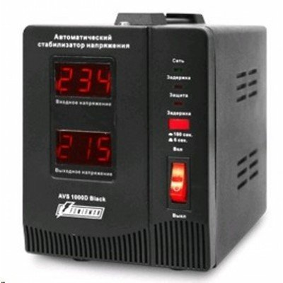 Стабилизатор напряжения Powerman AVS-1000DBLACK (AVS-1000DBLACK)Стабилизаторы напряжения Powerman<br>Powerman AVS-D Voltage Regulator 1000VA, Digital Indication, 2x Schuko Outlets, 1m Power Cord, 230V, 1 year warranty, Black<br>