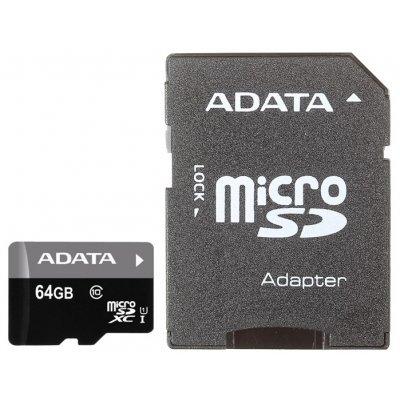 ����� ������ A-Data Premier microSDXC Class 10 UHS-I U1 64GB + SD adapter (AUSDX64GUICL10-RA1)