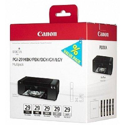 Картридж для струйных аппаратов Canon PGI-29 MBK/PBK/DGY/GY/LGY Multipack (4868B018) чернильный картридж canon pgi 29pm