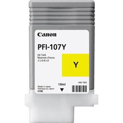 Картридж для струйных аппаратов Canon PFI-107Y 6708B001 желтый (6708B001)Картриджи для струйных аппаратов Canon<br>Картридж Canon PFI-107 Y для плоттера iPF680/685/780/785. Жёлтый. 130 мл.<br>