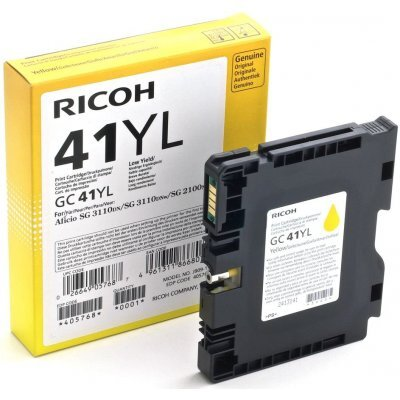 Картридж для струйных аппаратов Ricoh GC 41YL желтый 405768 (405768)Картриджи для струйных аппаратов Ricoh<br>Картридж GC 41YL для Aficio SG 2100N/ 3110DN/ 3110DNw/3100SNw/3110SFNw/7100DN. Жёлтый. 600 страниц.<br>