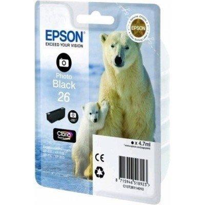 Картридж для струйных аппаратов Epson C13T26114010 черный (C13T26114010)Картриджи для струйных аппаратов Epson<br>Картридж струйный Epson C13T26114010 фото черный для XP-600/605/700/710/800 (200стр.)<br>