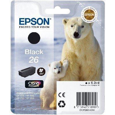 Картридж для струйных аппаратов Epson C13T26014010 черный (C13T26014010)Картриджи для струйных аппаратов Epson<br>Картридж струйный Epson C13T26014010 черный для XP-600/605/700/710/800 (220стр.)<br>