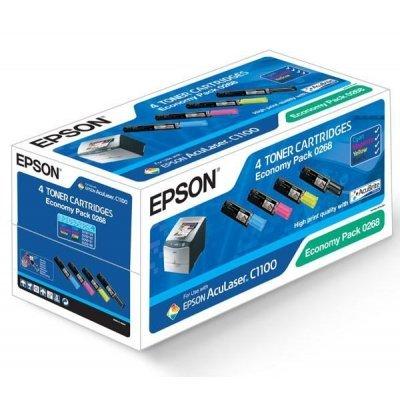 Набор картриджей (C13S050268) EPSON ECONOMY PACK для AcuLaser C1100 (C13S050268)Тонер-картриджи для лазерных аппаратов Epson<br>(ресурс черного картриджа - 4000 стр., цветных - по 1500 стр.)<br>