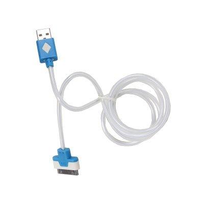 Кабель USB 3Cott 3C-CLDC-064BBL-IP4 1 м, синий (3C-CLDC-064BBL-IP4)Кабели USB 3Cott<br>Кабель 3Cott 3C-CLDC-064BBL-IP4, Apple 30-pin с подсветкой холодного оттенка, 1 м, синий<br>