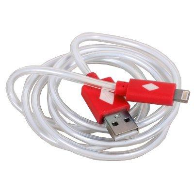 Кабель USB 3Cott 3C-LDC-065R-IP5 Lightning MFI с подсветкой теплого оттенка, 1 м, красный (3C-LDC-065R-IP5)Кабели USB 3Cott<br>Кабель 3Cott 3C-LDC-065R-IP5, Apple Lightning MFI с подсветкой теплого оттенка, 1 м, красный<br>