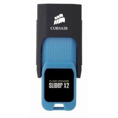 USB накопитель Corsair Voyager Slider X2 CMFSL3X2-32GB USB3.0 черный/голубой (CMFSL3X2-32GB) флешка usb 32gb corsair voyager slider x2 cmfsl3x2 32gb черно голубой