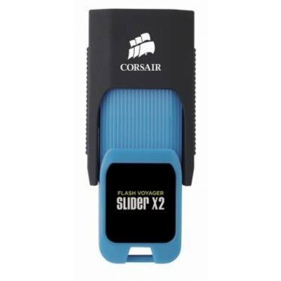 USB накопитель Corsair Voyager Slider X2 CMFSL3X2-128GB USB3.0 черный/голубой (CMFSL3X2-128GB) флешка usb 128gb corsair voyager slider x2 cmfsl3x2 128gb черно голубой