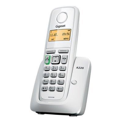 Радиотелефон Gigaset A220 белый (A220 WHITE)Радиотелефоны Gigaset<br>дополнительная трубка<br>    поддержка стандартов DECT/GAP<br>    громкая связь (спикерфон)<br>    определитель номеров (АОН/Caller ID)<br>    аккумуляторы: AAAx2<br>    монохромный дисплей на трубке<br>    полифонические мелодии<br>