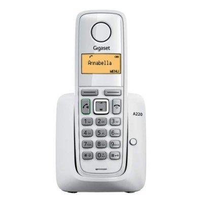 Радиотелефон Gigaset A220 серый (A220 AM GREY)Радиотелефоны Gigaset<br>комплект из базы и трубки<br>    поддержка стандартов DECT/GAP<br>    цифровой автоответчик на 25 минут<br>    громкая связь (спикерфон)<br>    определитель номеров (АОН/Caller ID)<br>    аккумуляторы: AAAx2<br>    монохромный дисплей на трубке<br>    полифонические мелодии<br>