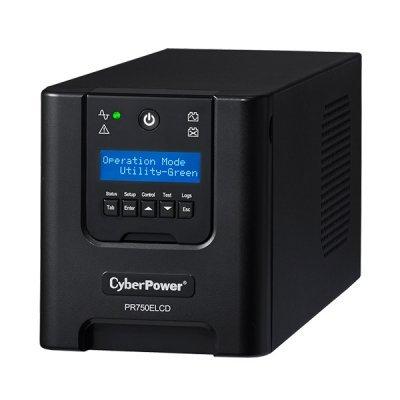 Источник бесперебойного питания CyberPower PR750ELCD (1PE-0000331-00G)Источники бесперебойного питания CyberPower<br>Источник бесперебойного питания, line-interactive, мощность: 750ВA, интерфейс RS-232, интерфейс USB, LCD-дисплей.<br>