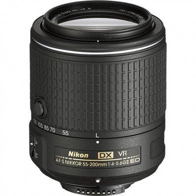 Объектив для фотоаппарата Nikon 55-200mm f/4-5.6G AF-S DX ED VR II (JAA823DA) цифровая фотокамера nikon d5600 kit 18 55 af p dx g vr vba500k001