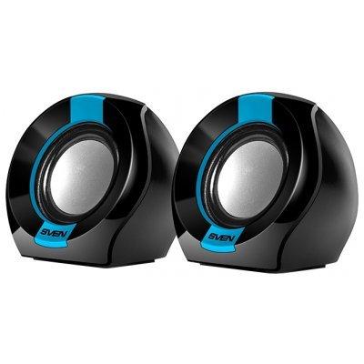 Компьютерная акустика SVEN 150 чёрный-синий (SV-013509)Компьютерная акустика SVEN<br>SVEN 150, чёрный-синий, USB, акустическая система 2.0, мощность 2x2,5 Вт(RMS)<br>
