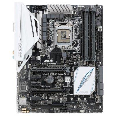 Материнская плата ПК ASUS Z170-PRO (90MB0M10-M0EAY0)Материнские платы ПК ASUS<br>материнская плата форм-фактора ATX<br>сокет LGA1151<br>чипсет Intel Z170<br>4 слота DDR4 DIMM, 2133-3866 МГц<br>поддержка SLI/CrossFireX<br>разъемы SATA: 6 Гбит/с - 6<br>