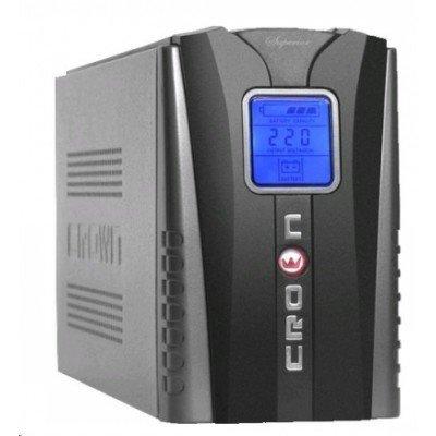 Источник бесперебойного питания Crown CMU-1200LCD (CMU-1200IEC LCD)Источники бесперебойного питания Crown<br>ИБП CROWN (4 активных розетки с13, 1 пассивная розетка с13, 1200VA/720W, AVR 145-280V, 2*12V/9AH)<br>