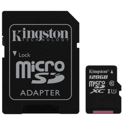 Карта памяти Kingston 128GB microSDXC Class 10 UHS-I (SDC10G2/128GB) (SDC10G2/128GB) sony sony microsd class 10 uhs i 128gb sd адаптер sr g1uya