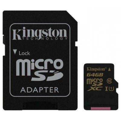 Карта памяти Kingston 64GB microSDHC Class 10 SDCA10/64GB (SDCA10/64GB)Карты памяти Kingston<br>Kingston 64GB microSDHC CL10 UHS-I 90R/45W<br>