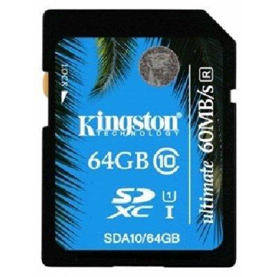 Карта памяти Kingston 64GB SDHC Class 10 SDA10/64GB (SDA10/64GB)Карты памяти Kingston<br>Kingston 64GB SDHC Class 10 UHS-I Ultimate Flash Card<br>