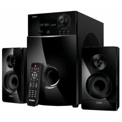 Компьютерная акустика SVEN MS-2100 (SV-012236)Компьютерная акустика SVEN<br>Sven MS-2100 2.1 (2 x 15W, 1 х 50W, USB flash, SD card, LED-дисплей, FM-радио, пульт ДУ)  Black<br>