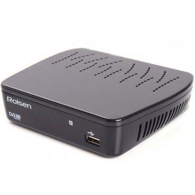ТВ-тюнер внешний Rolsen RDB-514A черный (1-RLDB-RDB-514A)ТВ-тюнеры внешние Rolsen<br>Ресивер DVB-T2 Rolsen RDB-514A черный<br>