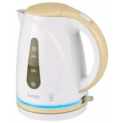 Электрический чайник BBK EK1701P белый/бежевый (EK1701P белый/бежевый)Электрические чайники BBK<br>Чайник электрический BBK EK1701P 2200Вт, 1,7литра, пластик, дисковый нагр. элемент, LED подсветка,белый/бежевый<br>