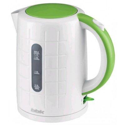 Электрический чайник BBK EK1703P белый/зеленый (EK1703P белый/зеленый)Электрические чайники BBK<br>Чайник электрический BBK EK1703P 2200Вт, 1,7литра, пластик, дисковый нагр. элемент, Английский контроллер,белый/зеленый<br>