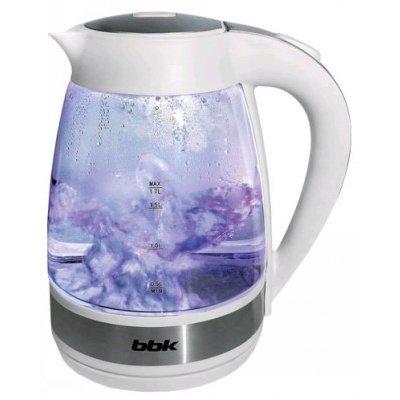 Электрический чайник BBK EK1721G белый (EK1721G белый)Электрические чайники BBK<br>Чайник электрический BBK EK1721G 2200Вт, 1,7литра, жаропрочное стекло, дисковый нагр. элемент, Английский контроллер,LED-подсветка,белый<br>