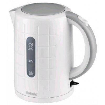 Электрический чайник BBK EK1703P белый/металлик (EK1703P белый/металлик)Электрические чайники BBK<br>Чайник электрический BBK EK1703P 2200Вт, 1,7литра, пластик, дисковый нагр. элемент, Английский контроллер,белый/металлик<br>