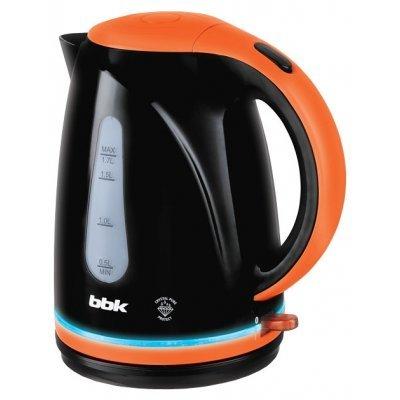 Электрический чайник BBK EK1701P черный/оранжевый (EK1701P черный/оранжевый)Электрические чайники BBK<br>Чайник электрический BBK EK1701P 2200Вт, 1,7литра, пластик, дисковый нагр. элемент, LED подсветка, черный/оранжевый<br>