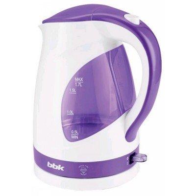 Электрический чайник BBK EK1700P белый/фиолетовый (EK1700P белый/фиолетовый)Электрические чайники BBK<br>Чайник электрический BBK EK1700P 2200Вт, 1,7литра, пластик, дисковый нагр. элемент, LED подсветка, белый/фиолетовый<br>