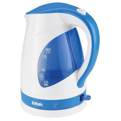 Электрический чайник BBK EK1700P белый/голубой (EK1700P белый/голубой)Электрические чайники BBK<br>Чайник электрический BBK EK1700P 2200Вт, 1,7литра, пластик, дисковый нагр. элемент, LED подсветка,белый/голубой<br>