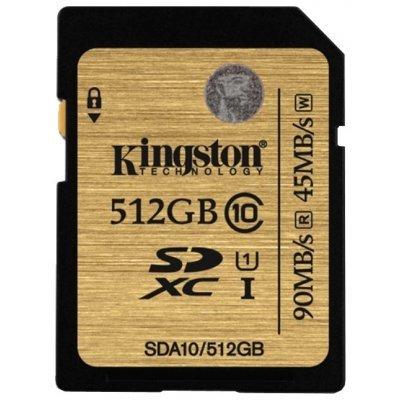 Карта памяти Kingston 512GB SDXC Class 10 SDA10/512GB UHS-I (SDA10/512GB)Карты памяти Kingston<br>Флеш карта SD 512GB Kingston  SDXC Class 10 UHS-I<br>