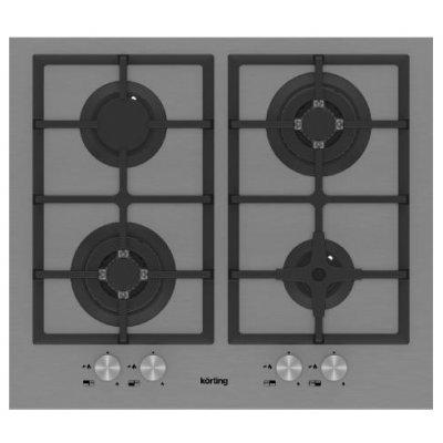 Газовая варочная панель Korting HG 665 C2 TX (HG 665 C2 TX)Газовые варочные панели Korting<br>газовая варочная панель<br>поверхность из нержавеющей стали<br>4 газовые конфорки<br>трехконтурная конфорка<br>переключатели поворотные<br>электроподжиг<br>независимая установка<br>габариты (ШхГ) 58.5x50 см<br>
