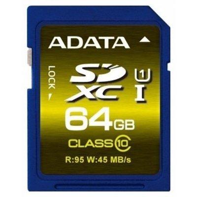 Карта памяти A-Data Premier Pro 64GB SDXC Class 10 UHS-I U1 (ASDX64GUI1CL10-R)Карты памяти A-Data<br><br>