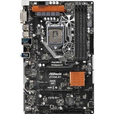 Материнская плата ПК ASRock Z170A-X1 (Z170A-X1)Материнские платы ПК ASRock<br>Материнская плата Asrock Z170A-X1 Soc-1151 Intel Z170 4xDDR4 ATX AC`97 8ch(7.1) GbLAN RAID+DVI<br>